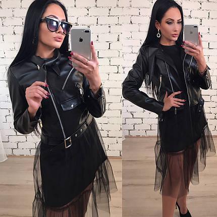 Куртка женская короткая из эко-кожи /черная, 42-46, ft-397/, фото 2