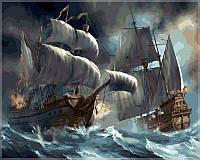 """Набор для рисования """"Сражение кораблей во время шторма"""" [40х50см, С Коробкой]"""