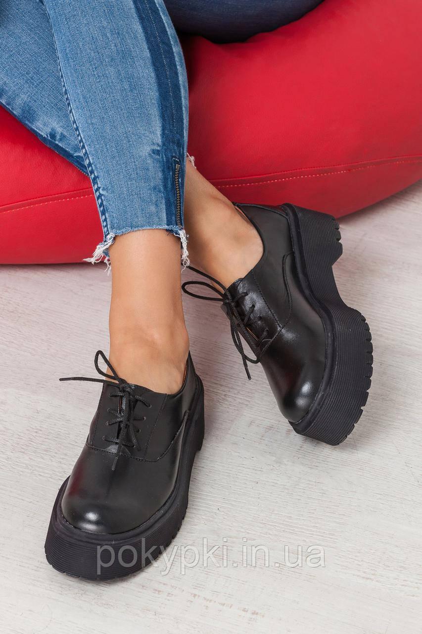87796634e Модные туфли женские на стильной подошве натуральная кожа черные -