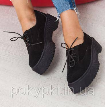 c09e03ff8 Брутальные туфли на модной подошве шнуровка натуральная замша черные -