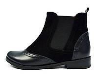 Черные женские кожаные ботинки-челси AL.KIR на байке, фото 1