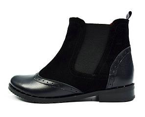 Черные женские кожаные ботинки-челси AL.KIR на байке