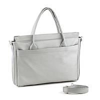 Сумка для ноутбука и документов серебро натурель/ сумка через плечо