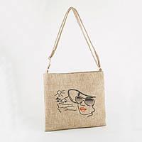 Сумка A4 бежевая рогожка  Девушка в шляпе/ сумка женская через плечо