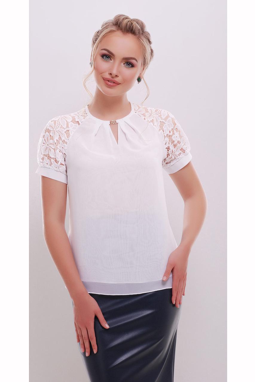 Женская белая шифоновая блузка Ильва к/р