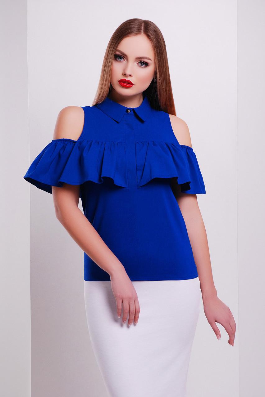 Женская блуза Калелья б/р с открытыми плечами электрик