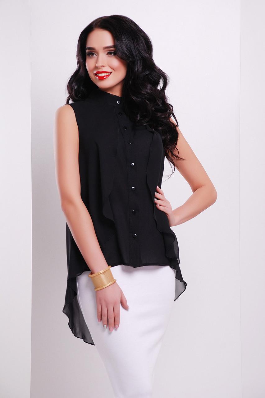 Женская черная шифоновая блузка без рукавов Санта-Круз б/р чёрная