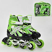"""Ролики 2001 """"S"""" Best Rollers цвет- САЛАТОВЫЙ /размер 30-33/ (6) колёса PVC, переднее колесо со светом, переставные колёса, d=6.4 см"""