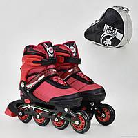 """Ролики 8902 """"М"""" Best Rollers цвет-КРАСНЫЙ /размер 35-38/ (6) колёса PU, без света, в сумке, d=7см"""