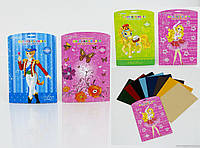 """Цветная бумага """" БАРХАТНАЯ """"01408 (168) 8 листов в упаковке, 8 цветов, 3 вида"""