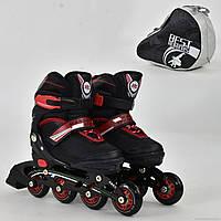 """Ролики 8901 """"S"""" Best Rollers цвет-ЧЁРНЫЙ /размер 31-34 (30-33)/ (6) колёса PU, без света, в сумке, d=6.4 см"""