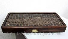 Подарок стильные нарды Орион из натурального дерева с кожей, фото 3