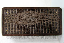 Подарок стильные нарды Орион из натурального дерева с кожей, фото 2