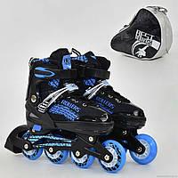 """Ролики 5800 """"М"""" Best Rollers /размер 35-38/ цвет-СИНИЙ (6) колёса PU, переднее колесо свет, в сумке d=7cм"""