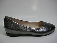 Кожаные женские серебряные балетки ТМ Ross, фото 1