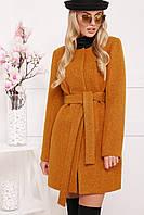 Женское пальто горчичного цвета без воротника П-337ш 23fcffb9f4b19
