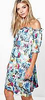 Красивое Шифоновое Платье с Открытыми Плечами Boohoo оригинал, размер S/M
