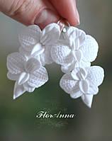 """Авторские серьги """"Орхидеи с бутоном"""" из полимерной глины, фото 1"""