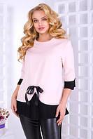 """Нарядная бежевая блуза """"Католина""""  Размер: 50,52,54,56, фото 1"""