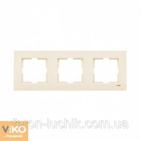 Рамка 3-я ViKO Karre горизонтальна, вертикальна (крем)