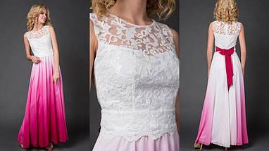 """Нарядное шифоновое макси-платье """"EMMY"""" с гипюровым лифом (7 цветов), фото 2"""