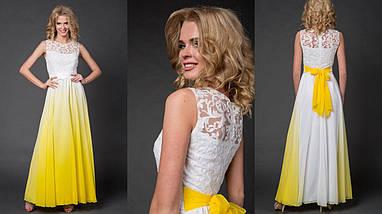 """Нарядное шифоновое макси-платье """"EMMY"""" с гипюровым лифом (7 цветов), фото 3"""