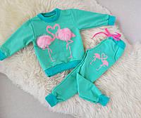 Костюм для девочки Фламинго с меховыми бубонами на 4-5 лет
