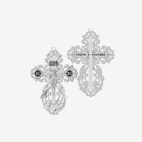Нательный крест серебряный с распятием ВКр-31