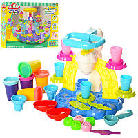 Пластилин MK 1527 5 цвета  мороженное, аппарат-пресс, формочки, инструменты, посуда