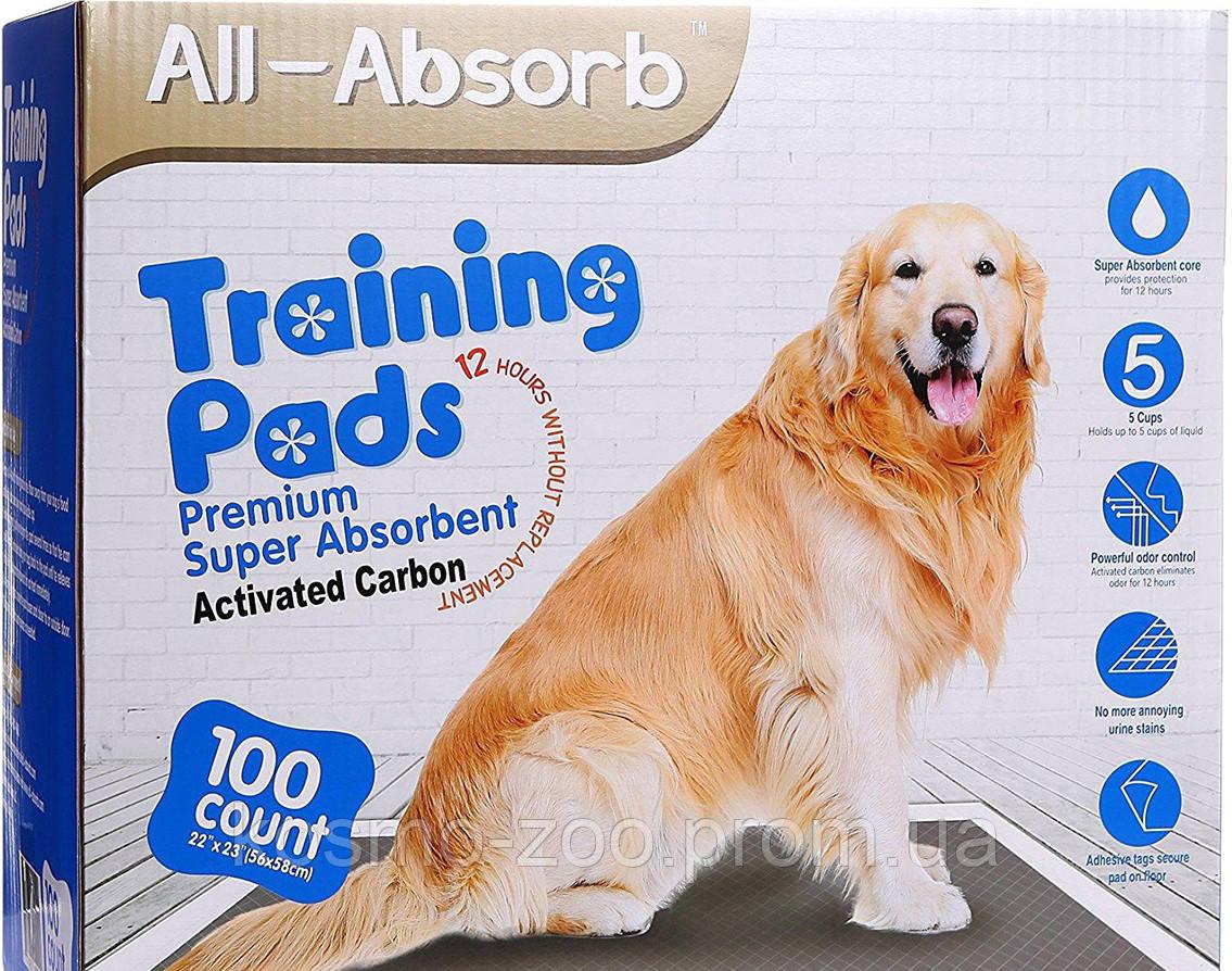 Пелёнки для собак All-Absorb Premium Training Pads 56х58см / 100 штук