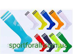 Гетры футбольные мужские CTM011-LB (терилен, р-р 40-45, синий, белая полоса)