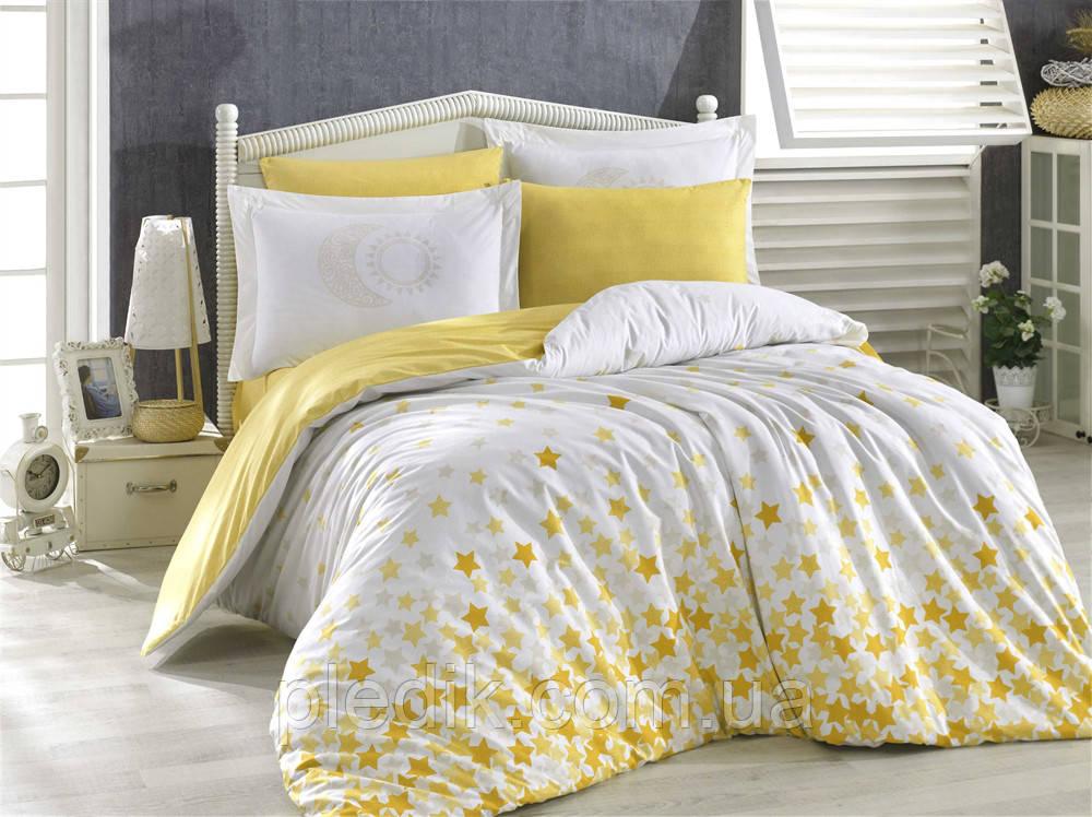 Комплект постельного белья 160х220 HOBBY Poplin Stars желтый 31675_1,5