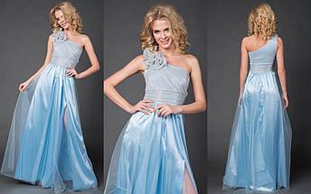 """Длинное нарядное платье на одно плечо """"LIMANA"""" с люрексом и цветами (4 цвета), фото 3"""