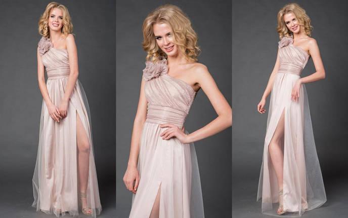 """Длинное нарядное платье на одно плечо """"LIMANA"""" с люрексом и цветами (4 цвета), фото 2"""