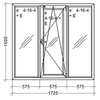 Трехстворчатое пластиковое окно 1725х1600 REHAU Euro-Design 60 с энергосберегающим стеклопакетом 4/16/4и