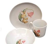 Набор детской посуды 3 предмета Cmielow Happy Bunny 6503T06E2B122