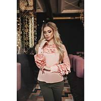Модная женская шелковая рубашка с рюшами на рукавах