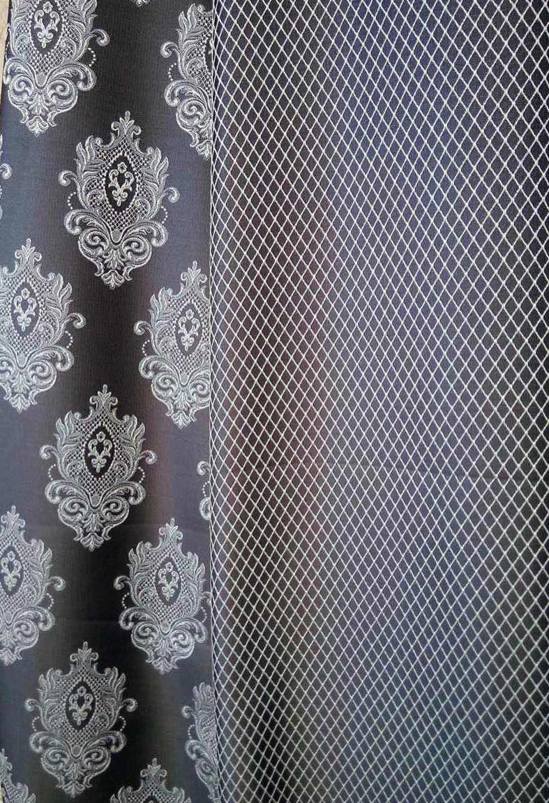 Портьерная ткань классика (компаньоны синие)