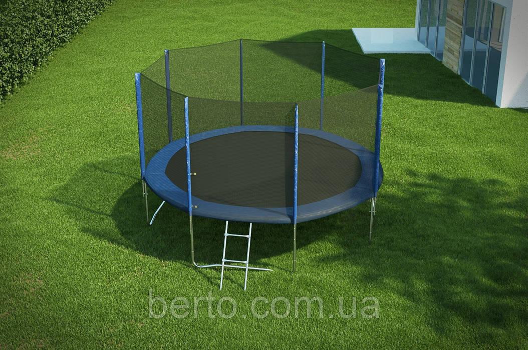 Батут Hop-Sport диаметром 366см (12ft) спортивный для детей с лестницей и внешней сеткой