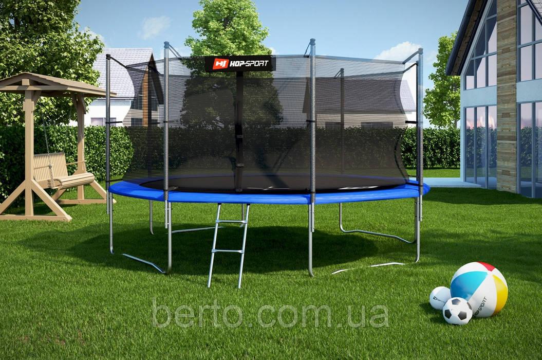 Батут Hop-Sport диаметром 427см (14ft) спортивный для детей с лестницей и внутренней сеткой