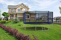 Батут Hop-Sport диаметром 427см (14ft) спортивный для детей с лестницей и внешней сеткой