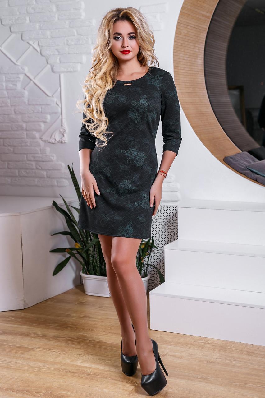 dac81bf2413 Красивое черное платье с интересным цветочным узором (2 расцветки ...