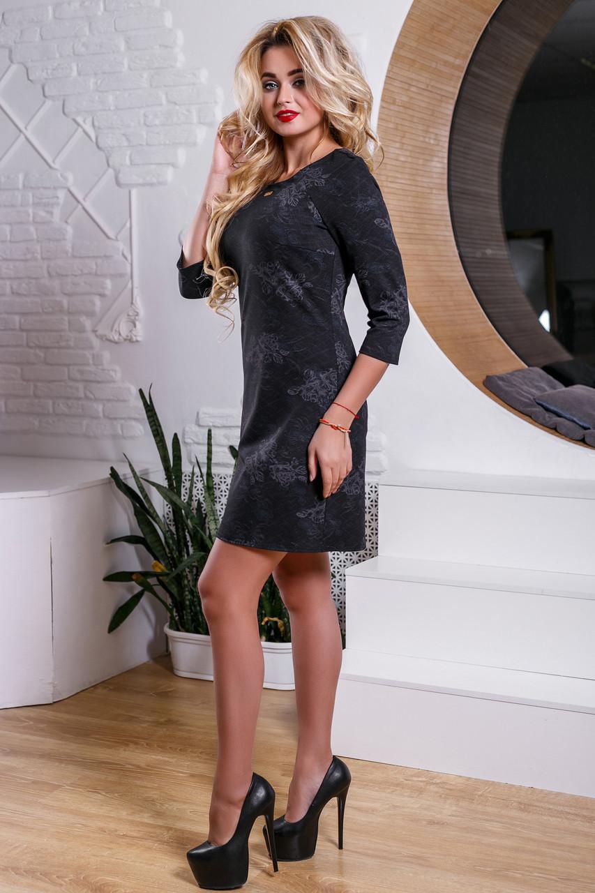 c37151a0023 ... Красивое черное платье с интересным цветочным узором (2 расцветки)