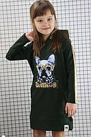 Модное платье для девочки с капюшоном 6-7 лет