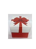 Упаковочная коробочка из картона с крышкой красный бантик