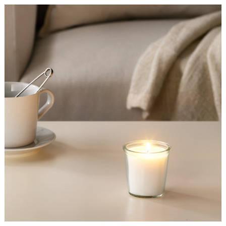 СМОТРЕВЛИГ Ароматическая свеча в стакане, ваниль и морская соль, 7 см, 30337717, IKEA, ИКЕА, SMATREVLIG, фото 2