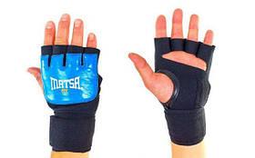 Перчатки с бинтом внутренние гелевые кожаные MATSA MA-6021-B(L) (PL, р. L, на липучке, синий)