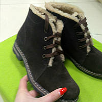 Ботинки замш коричневый