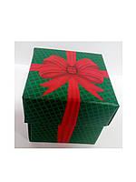 Упаковочная коробочка из картона с крышкой зелёная с бантиком