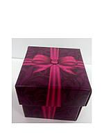 Упаковочная коробочка из картона с крышкой бордовая с бантом